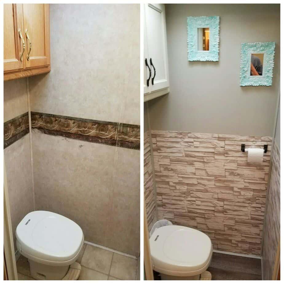 Camper renovation 48 camperism for Trailer bathroom ideas